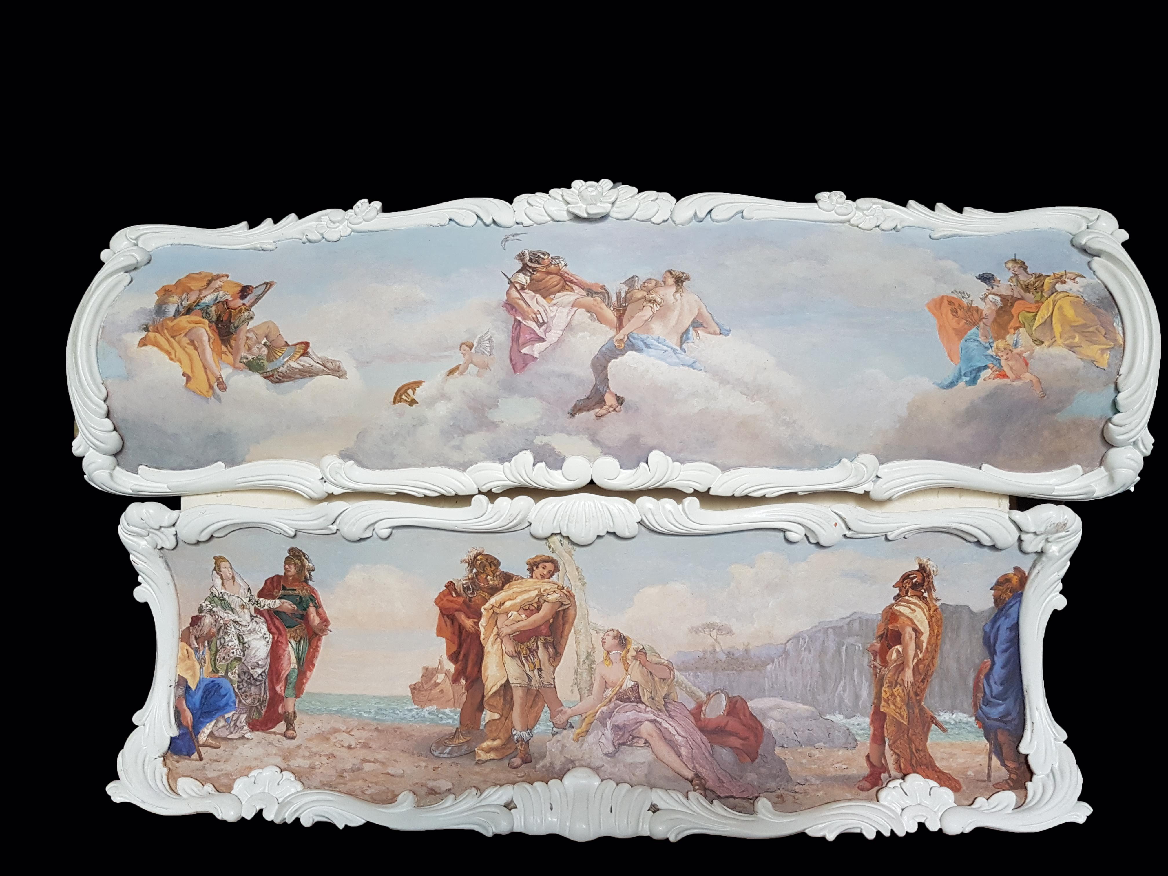 Commode peinte, miniatures d'après Tiepolo