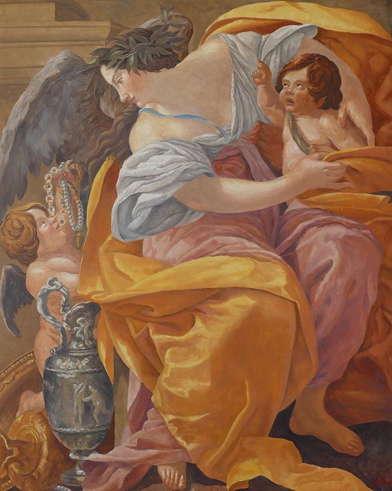 Fresque peinte d'apres Vouet