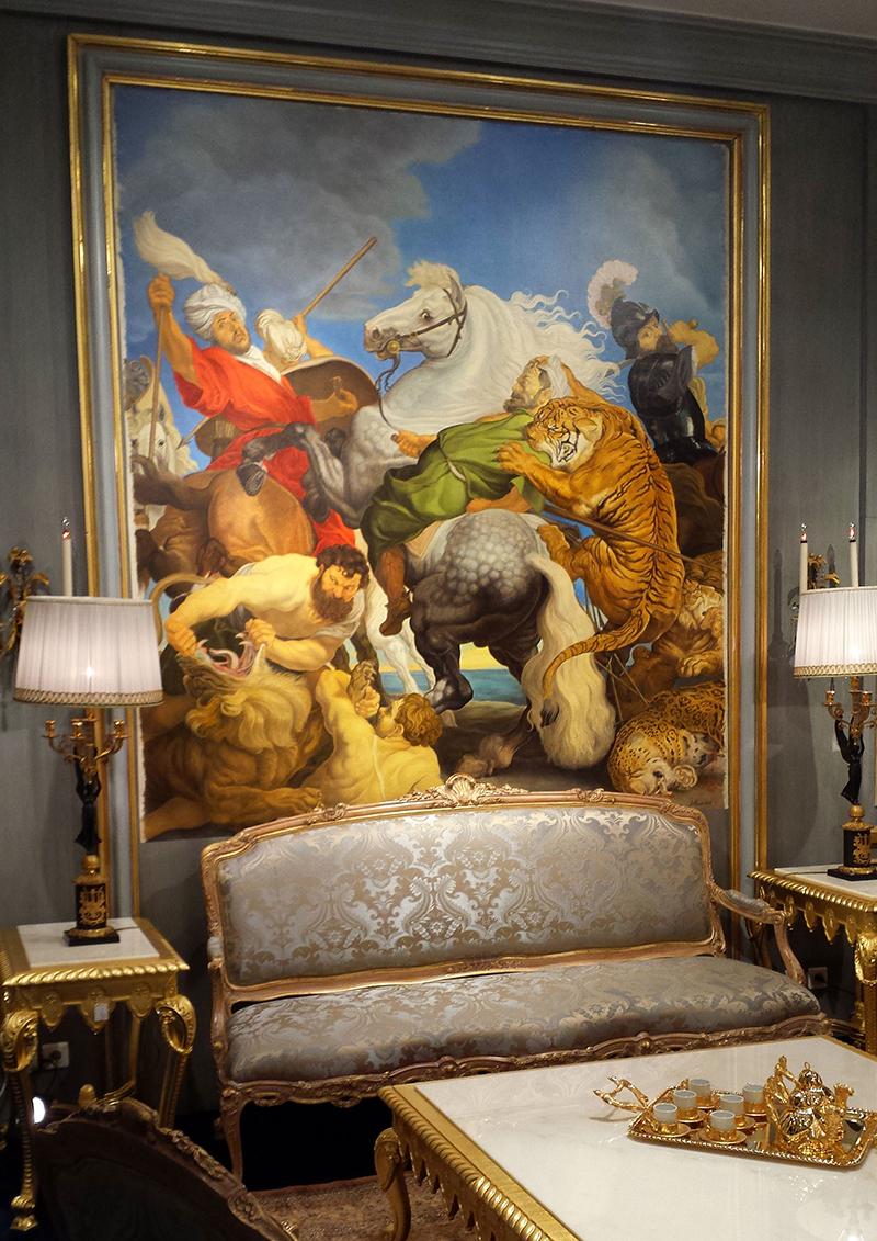 D'après Rubens, chasse au tigre, toile peinte