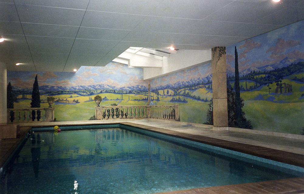 Toile peinte, paysage italien