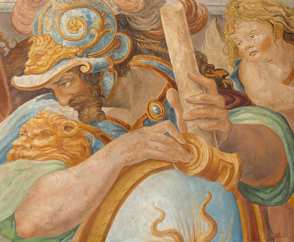 Fresque, peinture a fresco sur mortier chaux sable