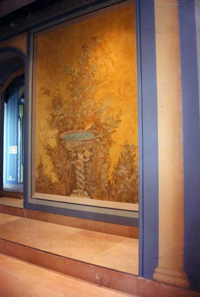 Fresque, peinture a fresco sur mortier chaux sable, villa de Poppée, Pompéi