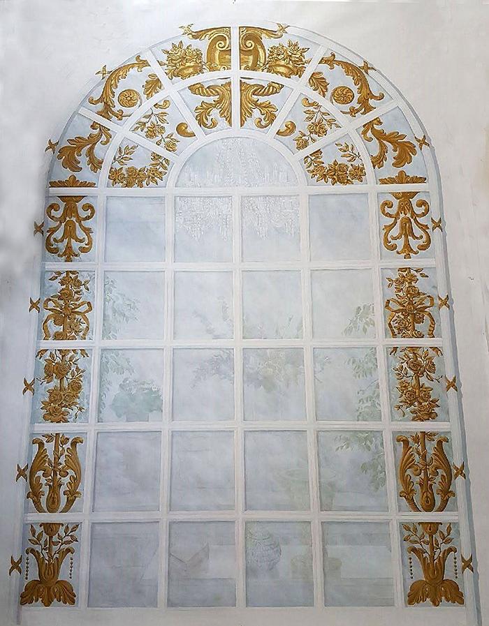 Toile peinte, trompe l'oeil d'une fenêtre avec ornements, dorure, intérieur