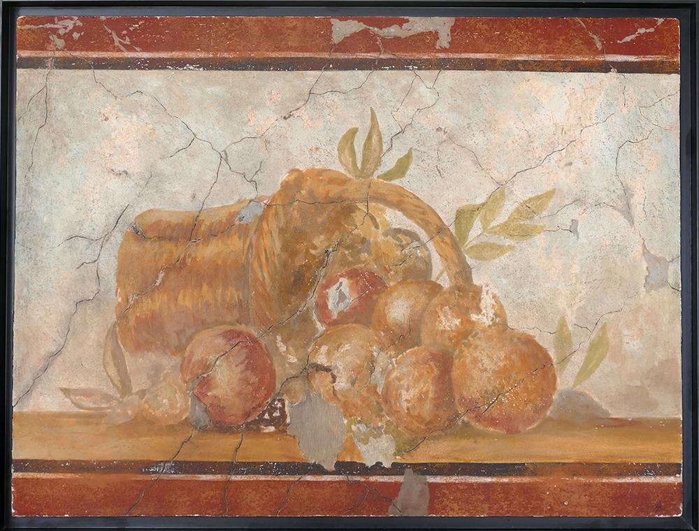 Fresque, peinture a fresco, corbeille de fruits, maison des Cerfs, Pompéi