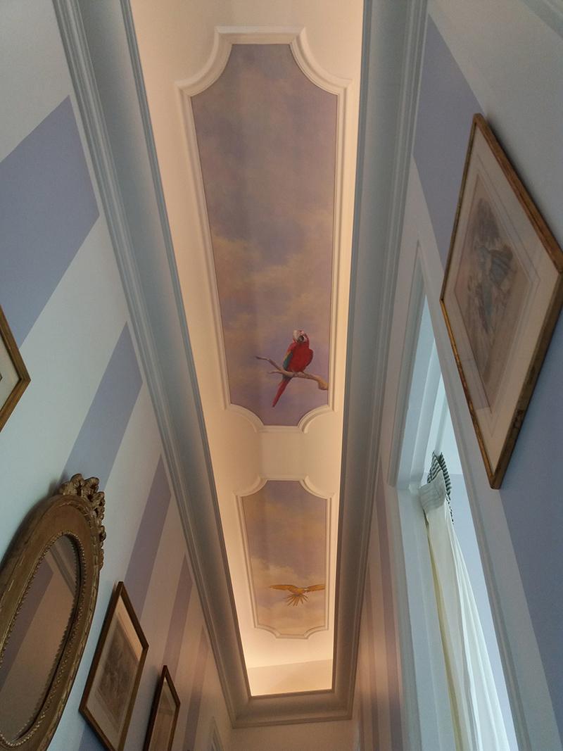 Plafond peint décoration, ciel et ara