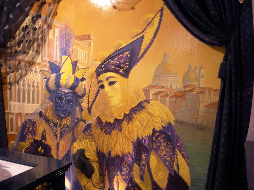 Toile peinte, décoration vénitienne, masques