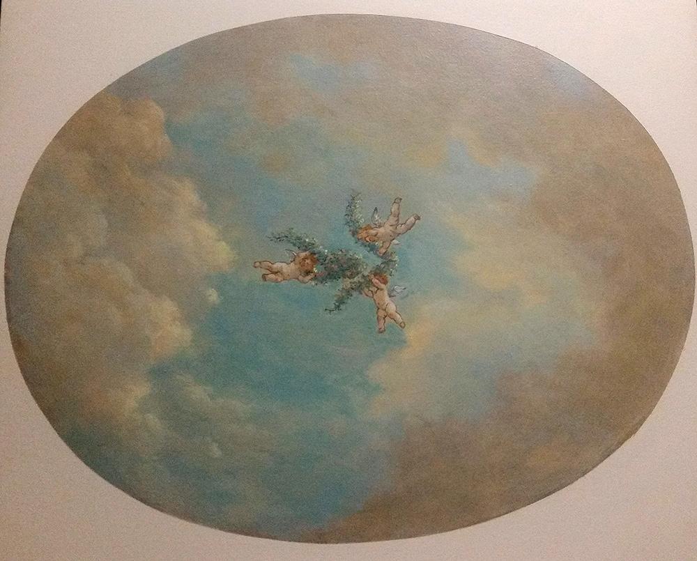 Maquette pour plafond peint, ciel et putti, décoration