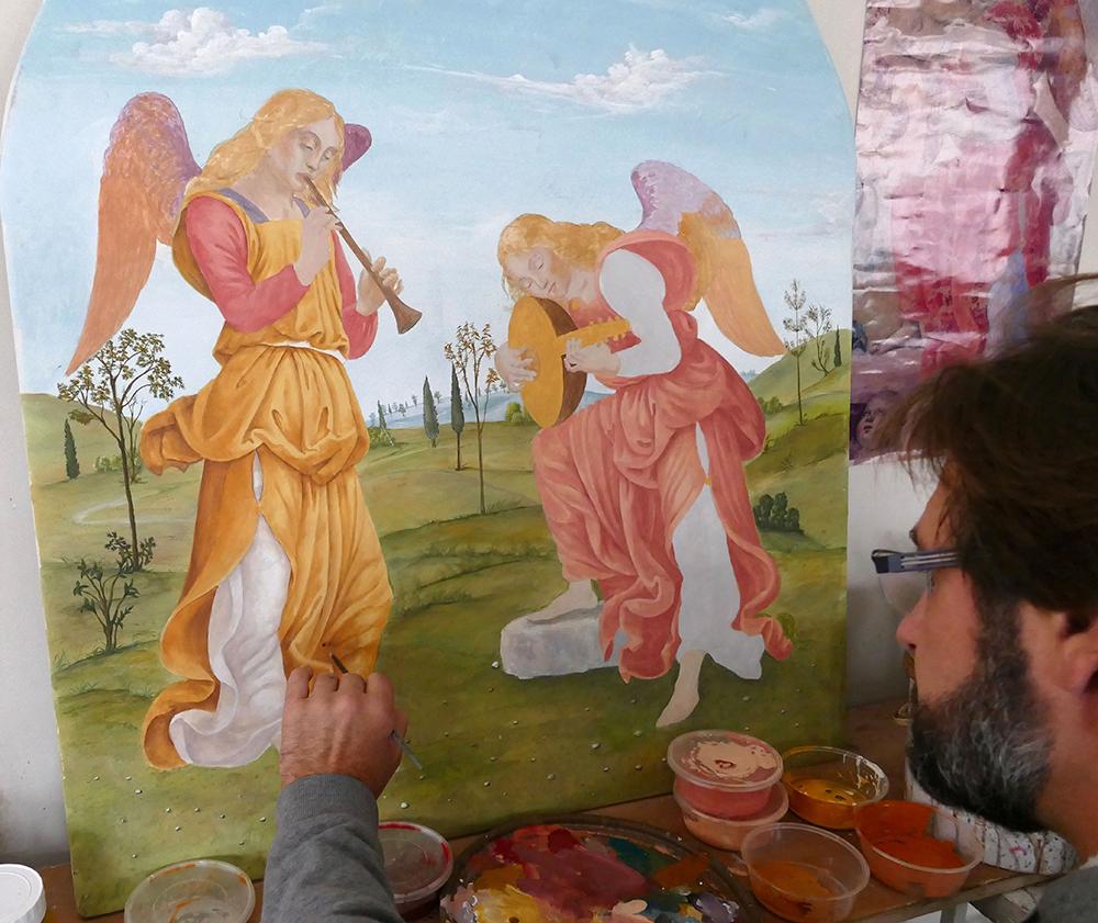 2 Fresque, peinture a fresco, paysage et anges