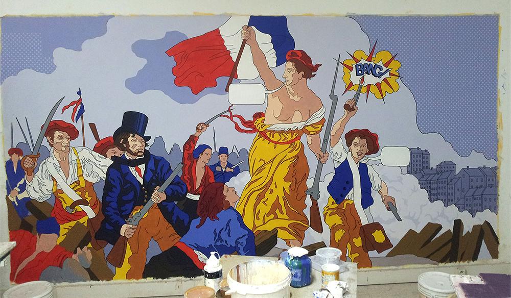 D'après Delacroix, La liberté guidant le peuple, façon Lichtenstein
