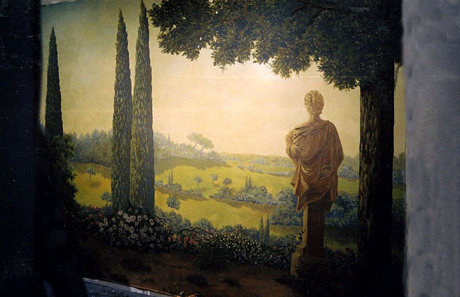 Décor peint sur mur de chambre, toile peinte, paysage italien,