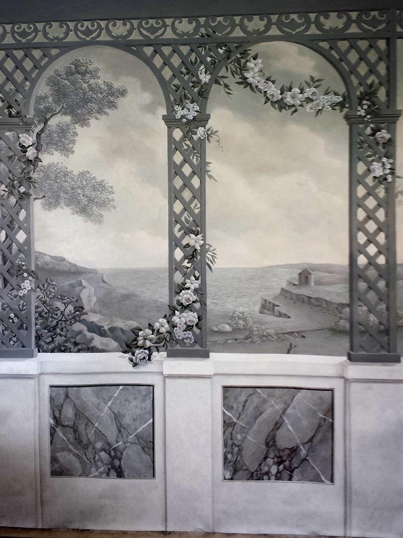 grisaille, toile peinte, paysage et treillis