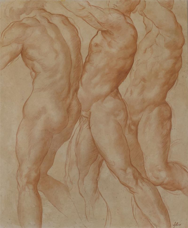 Fresque, d'après Pontormo, peinture a fresco, imitation sanguigne