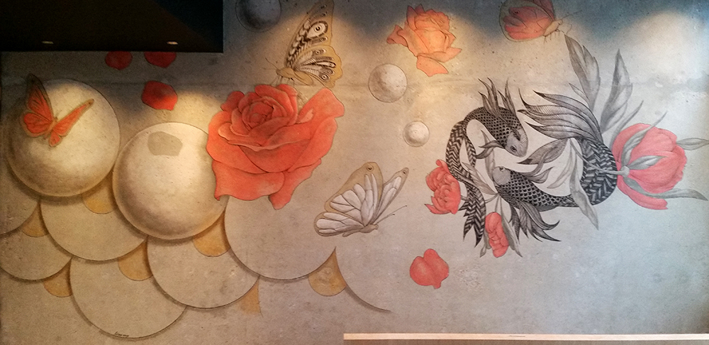 Peinture imitation graffiti, décoration deux poissons, yin-yang