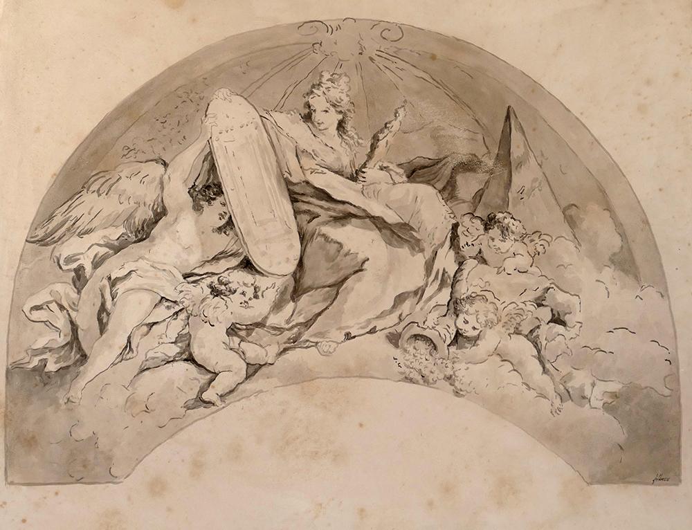 Fresque, peinture a fresco, imitation lavis