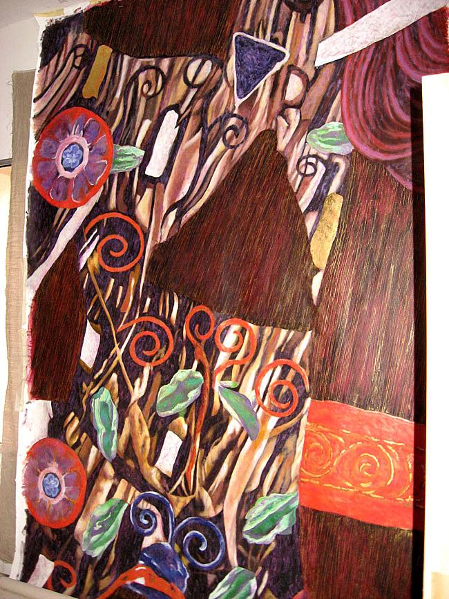 Toile peinte d'après Klimt, peinture murale