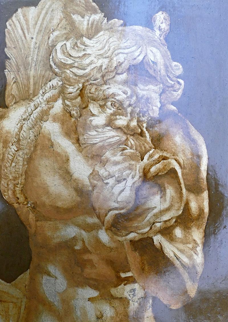 Bronze Neptune peinture sur dorure