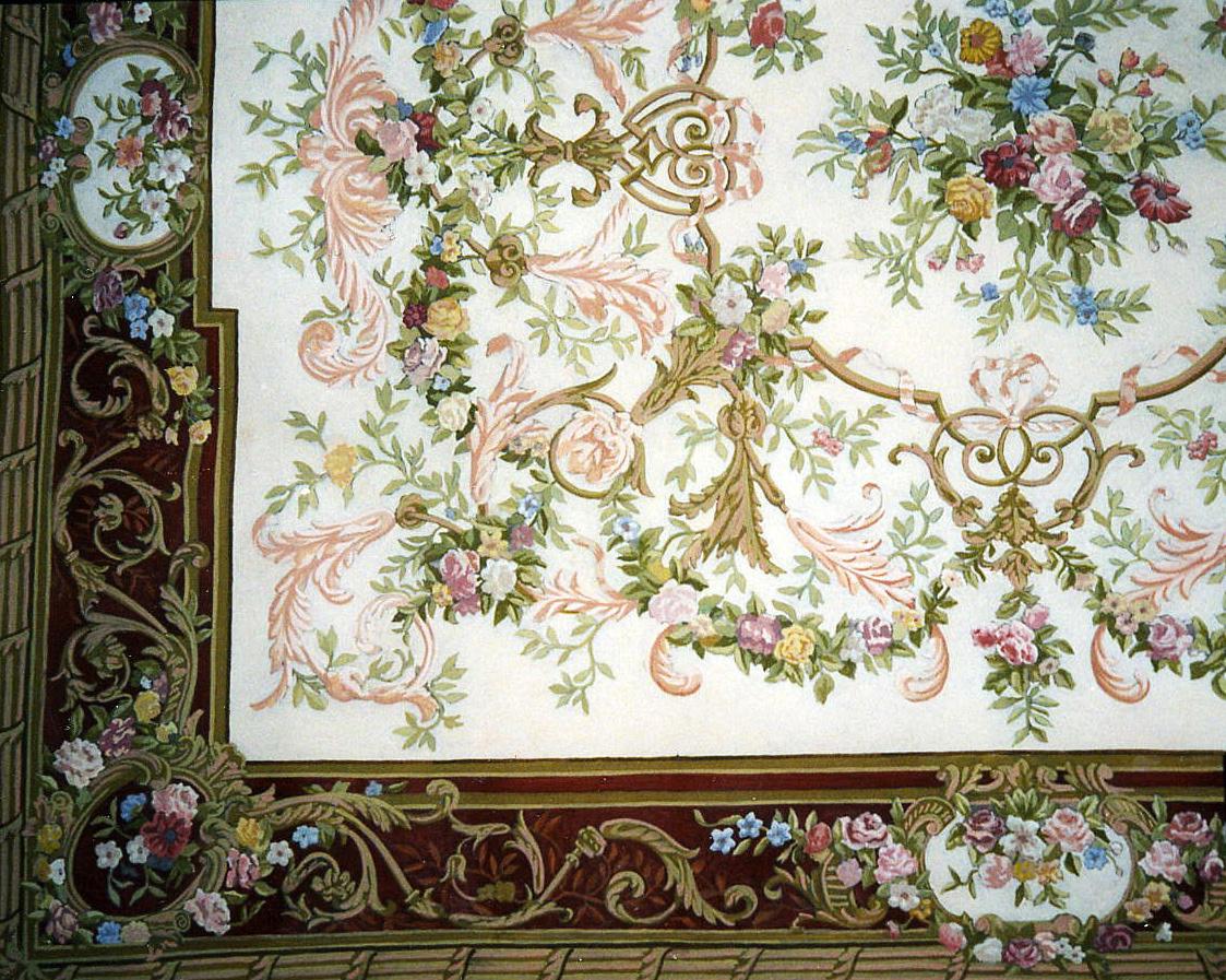 Ornementation tapisserie peinte en trompe l'oeil
