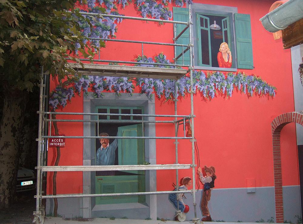 Mur peint d'extérieur, collaboration avec Gérôme Darparens