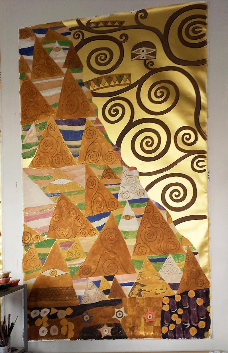Toile peinte pour plafond, dorure, d'après Klimt
