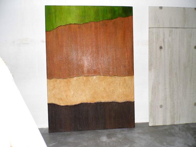 Dalles prêt-à-poser  pour décoration murale imitation écorce de palmier et béton brut de décoffrage