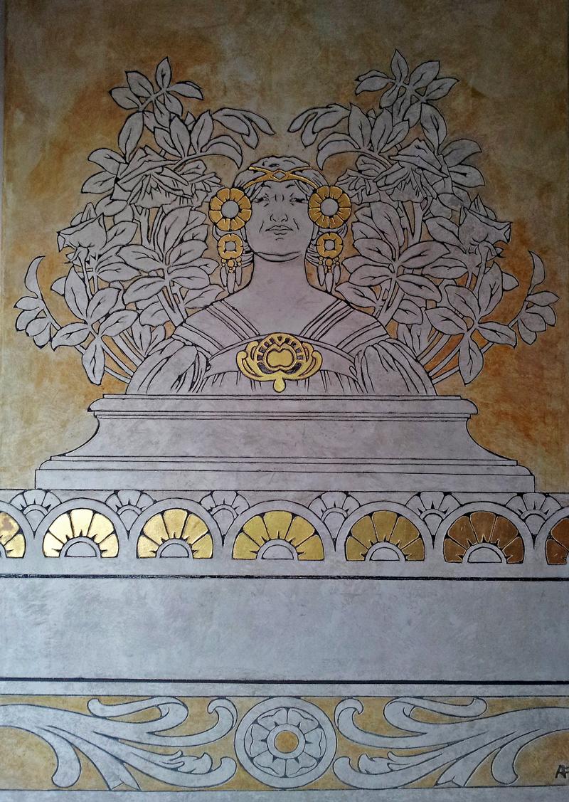 Décor sur panneau - matière à la chaux avec motif Art Nouveau en sgraffito gravé a fresco et feuille d'or