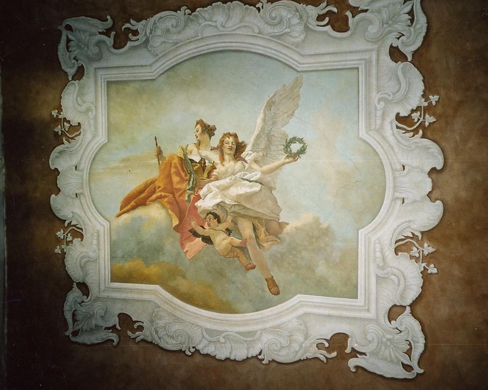 Toile peinte pour plafond, cadre en trompe l'oeil, d'après Tiepolo