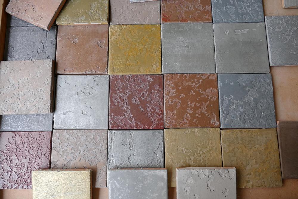 Carrelage personnalisé, fait main, métallisé à froid, alu, bronze, cuivre, laiton, fer, zinc, étain