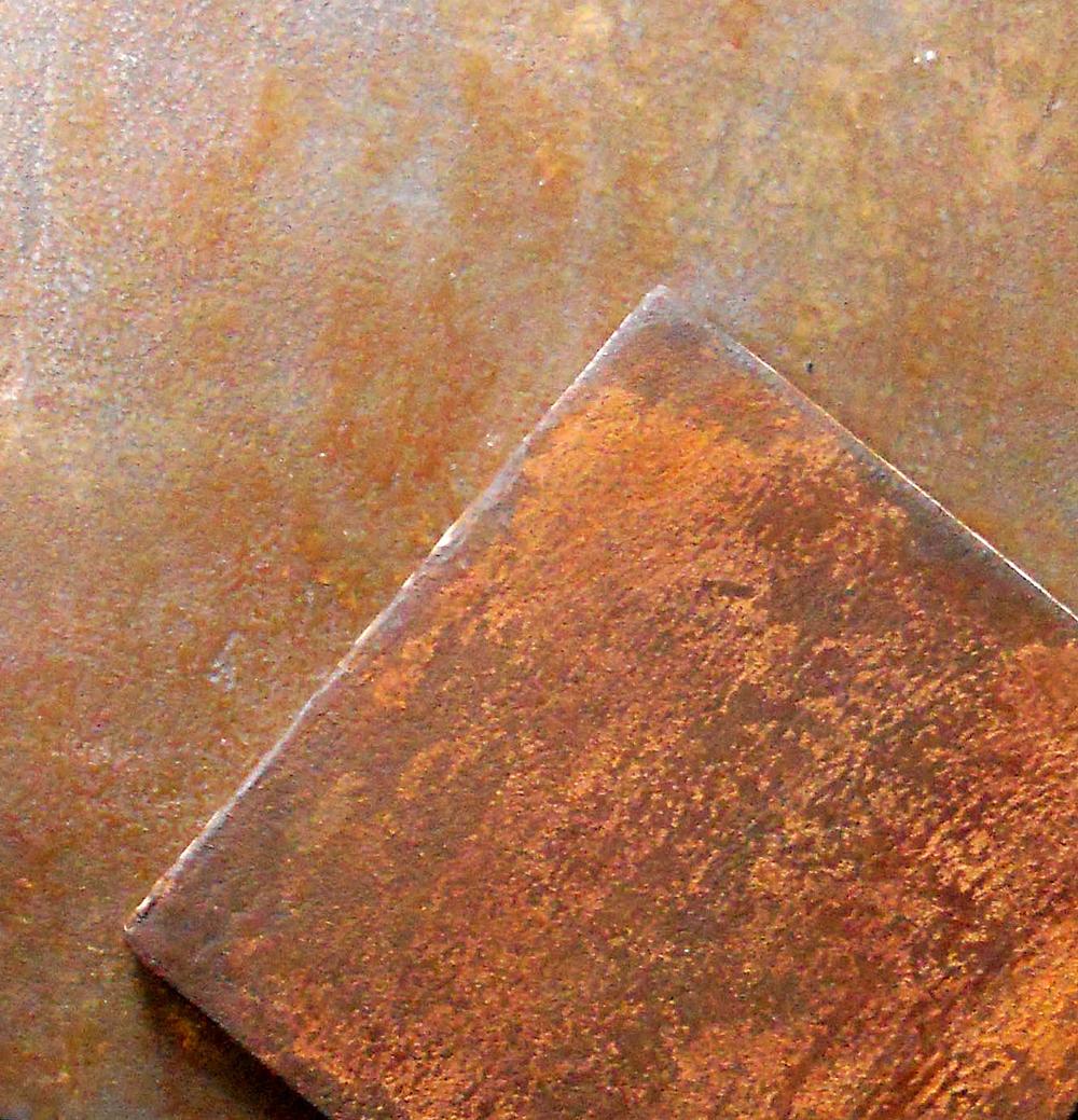 Carreaux sur mesure, métallisés à froid,  métal fer rouillé