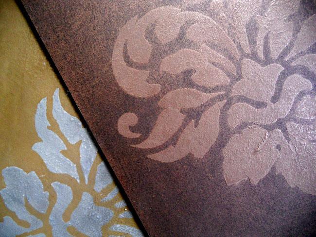 Carreaux motif sur mesure en métal (métallisation à froid) bronze et laiton avec motif en impression
