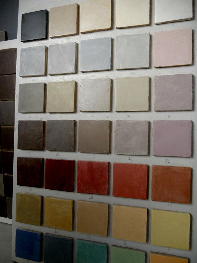 Carrelage gamme sur mesure en marmorino, format 10x10 cm
