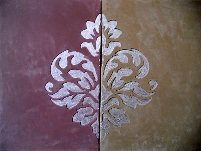 Carrelage motif sur mesure format 50x33,3 cm, en marmorino, avec décor sgraffito fait main, finition nacrée