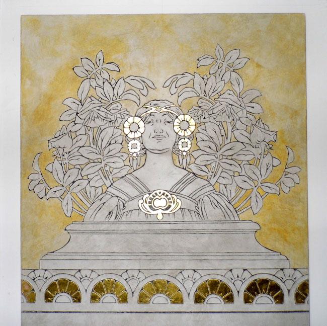 Fresque sur panneau en bois avec sgraffito et feuille d'or