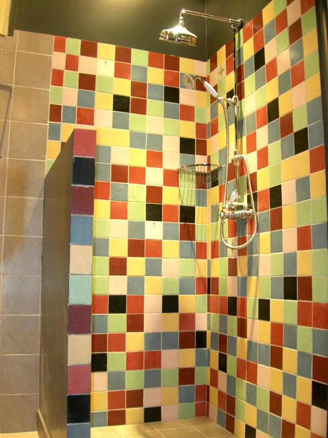 Douche, carreaux multicolore en marmorino, 10x10 et 20x20