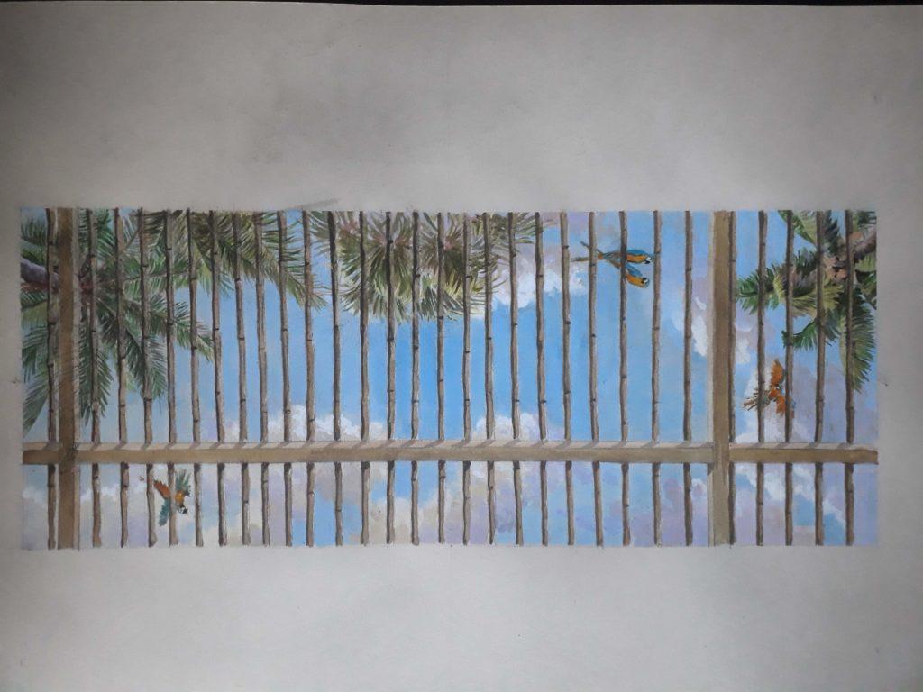 ciel peint perroquets nuages palmiers bambou